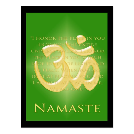 Om in Green & Gold - Namaste Postcard