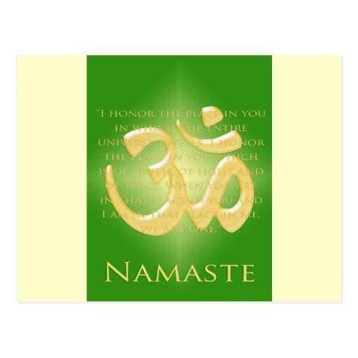 Om in Green & Gold - Namaste Postcards