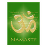 Om in Green & Gold - Namaste Poster