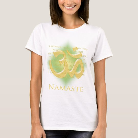 Om in Green & Gold - Namaste T-Shirt