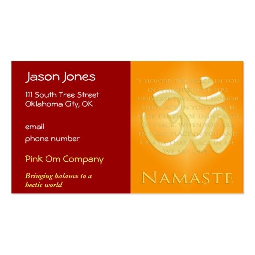 Om in Oranges & Gold - Namaste Business Card Template