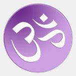 Om, in Purple and White Classic Round Sticker