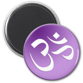 Om, in Purple and White Magnet