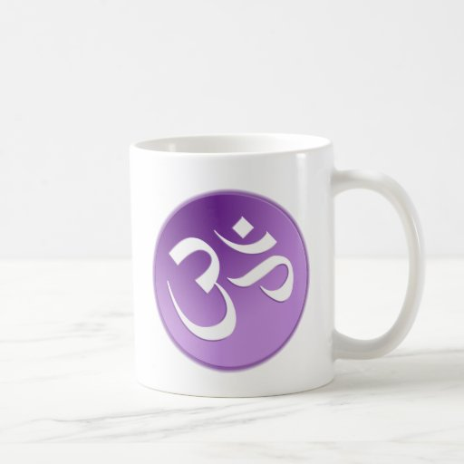 Om, in Purple and White Mugs