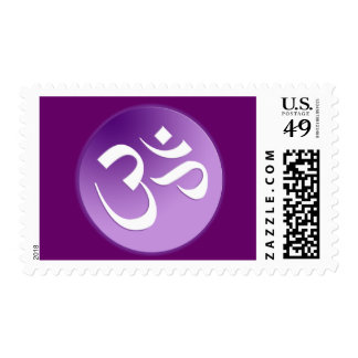Om, in Purple and White Postage
