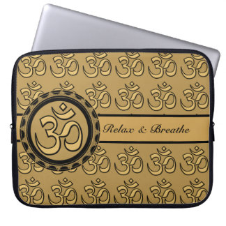 Om Laptop - Gold Relax & Breathe Laptop Computer Sleeve