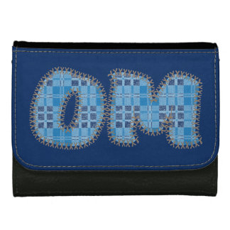 Om Leather Wallet - Blue Plaid - Yoga Inspired