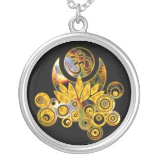 Om Lotus   black Round Pendant Necklace