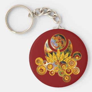 Om Lotus   dark red Keychain