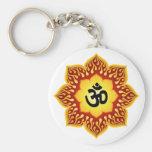 Om Lotus Fire Keychain