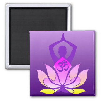Om Lotus Flower Yoga Pose on Purple Gradient 2 Inch Square Magnet