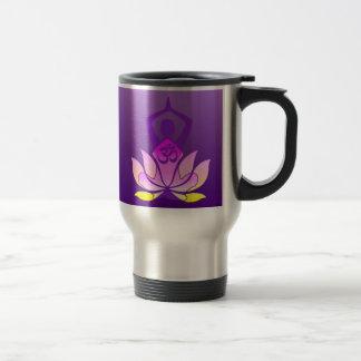 Om Lotus Flower Yoga Pose on Purple Gradient Travel Mug