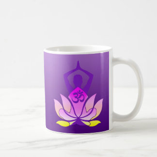 Om Lotus Yoga Pose Classic White Coffee Mug