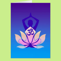 Om Lotus Yoga Pose Purple Hue Card