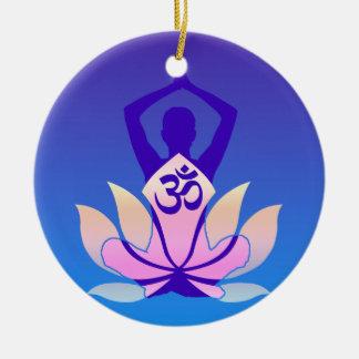 Om Lotus Yoga Pose Purple Hue Ceramic Ornament