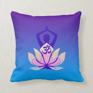 Om Lotus Yoga Pose Purple Hue Throw Pillow