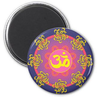 Om Mandala Blue Border Magnet