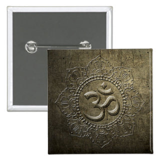 OM - mandala del símbolo - metal de bronce - botón Pin Cuadrado