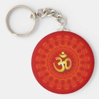 Om Mandala Design Basic Round Button Keychain