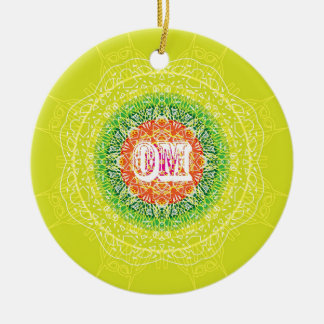 Om Mandala Design for Yoga Ceramic Ornament