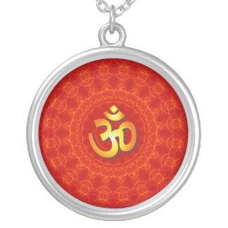 Om Mandala Design Round Pendant Necklace