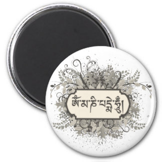 Om Mani Padme Hum Floral 2 Inch Round Magnet