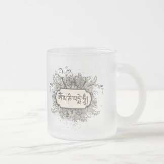 Om Mani Padme Hum Floral Frosted Glass Coffee Mug