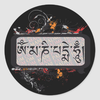 Om Mani Padme Hum Grubge Round Stickers