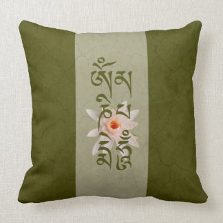 Om Mani Padme Hum Lotus - Green Throw Pillow
