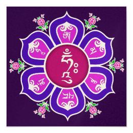 Om Mani Padme Hum Lotus Throne Mandala Card