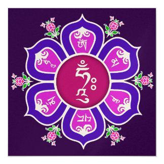 Om Mani Padme Hum Lotus Throne Mandala 5.25x5.25 Square Paper Invitation Card