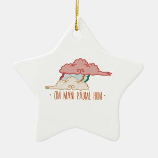 Om Mani Padme Hum Double-Sided Star Ceramic Christmas Ornament