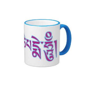 Om Mani Padme Hum Tibetan Script Buddhist Mantra Ringer Mug