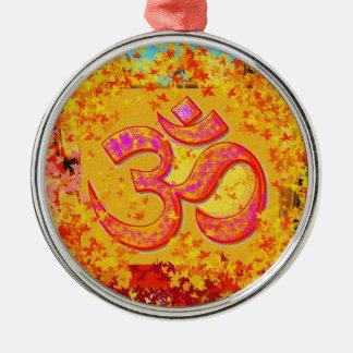 Om Mantra 6 Round Metal Christmas Ornament