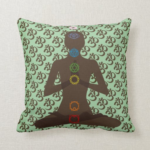 Om Mantra 7 Chakras Yoga Design Throw Pillow