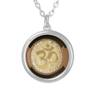OM MANTRA Elegant Golden Emblem Greetings Gifts 99 Round Pendant Necklace