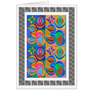OM Mantra Multicolor Coins - OM108 by Navin Greeting Card