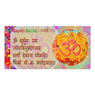 Om Mantra n Gayatri Mantra Sanskrit Text Card