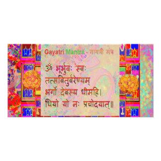 Om Mantra n Gayatri Mantra Sanskrit Text Customized Photo Card