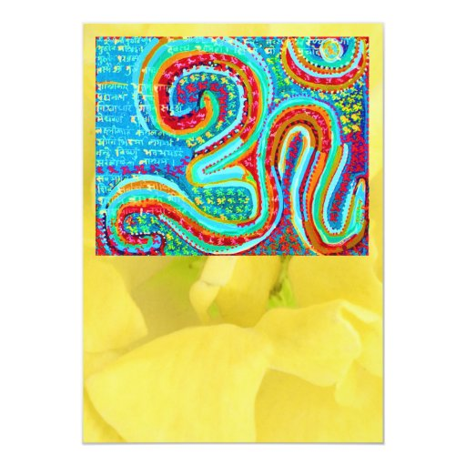 Om Mantra n Yellow Petal - For Special Occasions Personalized Invite