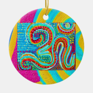 Om Mantra - Om written 108 times Double-Sided Ceramic Round Christmas Ornament