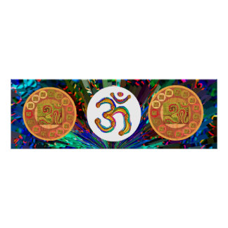Om Mantra OmMantra Gold Round Poster