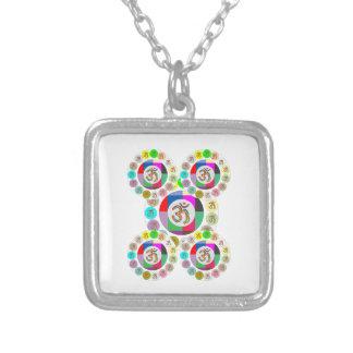 """OM Mantra Symbol : Chant n Meditate """"OM HARI OM"""" Square Pendant Necklace"""