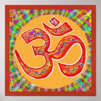 "OM Mantra Symbol : Chant n Meditate ""OM HARI OM"" Poster"