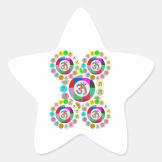"OM Mantra Symbol : Chant n Meditate ""OM HARI OM"" Star Sticker"