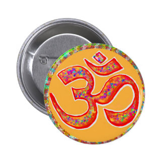 OM MANTRA Symbol : TRUE HOLY ROBE Color 2 Inch Round Button