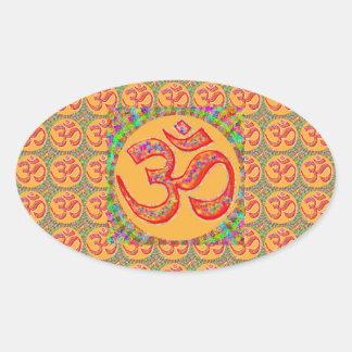 OM MANTRA Symbol : TRUE HOLY ROBE Color Oval Sticker