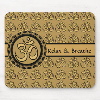 Om Meditation Gold Mousepad Relax & Breathe