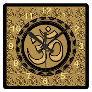 Om Meditation Gold Wall Clock Square