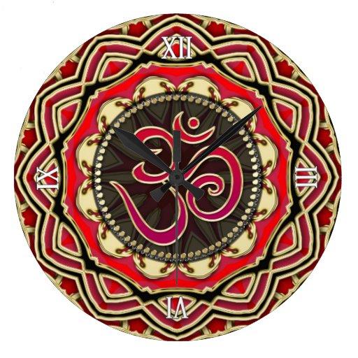 OM Meditation Yoga Red Gold Mandala Wall Clock
